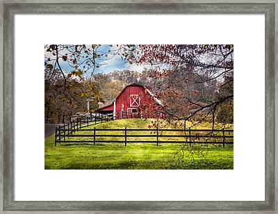 Red Barn Framed Print by Debra and Dave Vanderlaan