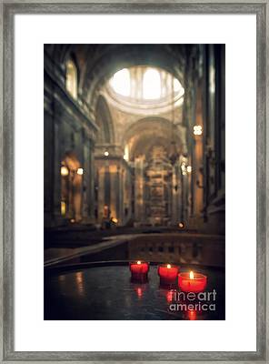 Red Candles Framed Print by Carlos Caetano