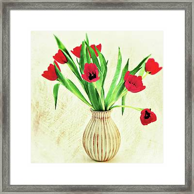 Red Tulips Framed Print by Angela Doelling AD DESIGN Photo and PhotoArt