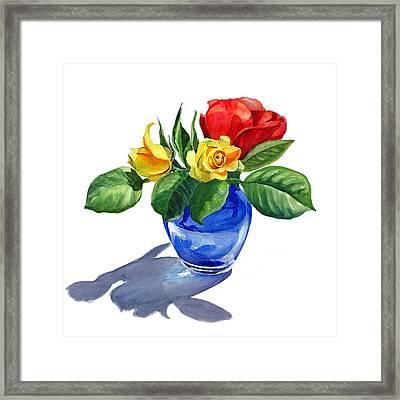 Red Yellow And Blue Framed Print by Irina Sztukowski
