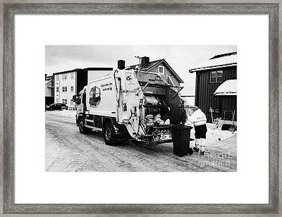refuse collection during winter Honningsvag finnmark norway europe Framed Print by Joe Fox