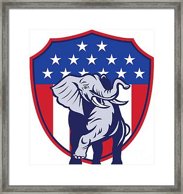 Republican Elephant Mascot Usa Flag Framed Print by Aloysius Patrimonio
