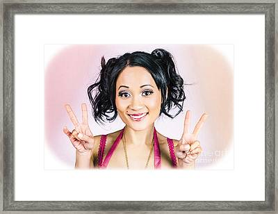 Retro Asian Girl Gesturing Peace Love And Hope Framed Print by Jorgo Photography - Wall Art Gallery