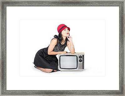 Retro Fashion Communication. Girl On Television Framed Print by Jorgo Photography - Wall Art Gallery