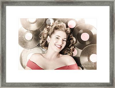Retro Pin-up Woman With Rocking Hairstyle Framed Print by Jorgo Photography - Wall Art Gallery