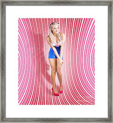 Retro Pinup Beauty On Psychedelic Background Framed Print by Jorgo Photography - Wall Art Gallery
