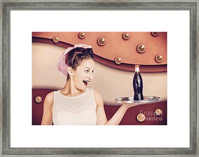 Retro Pinup Girl Holding Food And Drinks Tray Framed Print by Jorgo Photography - Wall Art Gallery