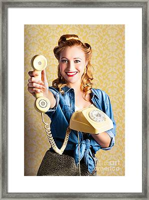 Retro Pop Art Of Quality And Service  Framed Print by Jorgo Photography - Wall Art Gallery