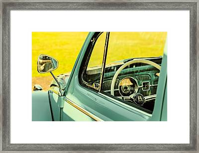 Retro Styled Image Of The Interior Of A Volkswagen Beetle Framed Print by Martin Bergsma