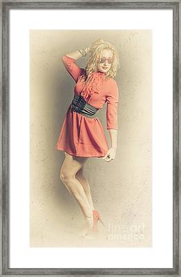 Retro Yellow Portrait Of A Beauty Pinup Girl Framed Print by Jorgo Photography - Wall Art Gallery