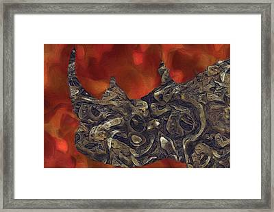 Rhino Abstract Framed Print by Jack Zulli