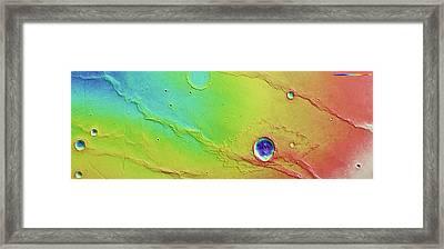 Ridges And Craters Framed Print by European Space Agency/dlr/fu Berlin (g. Neukum)