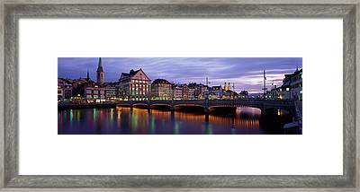 River Limmat Zurich Switzerland Framed Print by Panoramic Images