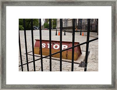 Road Blocker At New York City Hall Framed Print by Mark Williamson