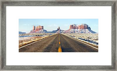 Road Lead Into Monument Valley Framed Print by King Wu