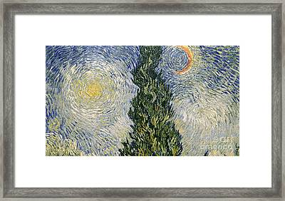 Road With Cypresses Framed Print by Vincent Van Gogh