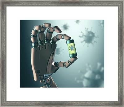 Robotic Hand Holding Virus Framed Print by Ktsdesign