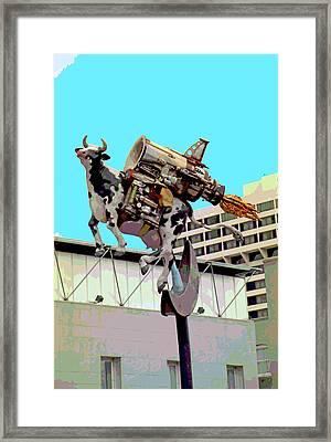 Rocket Cow Sculpture By Michael Bingham Framed Print by Steve Ohlsen