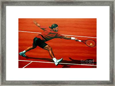 Roger Federer At Roland Garros Framed Print by Paul Meijering