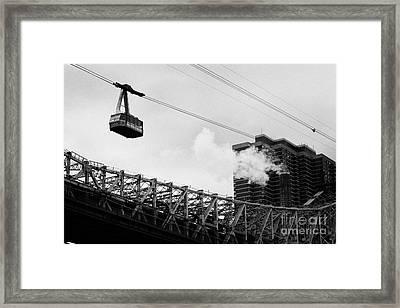 Roosevelt Island Aerial Tram Cable Car And Queensboro Bridge New York City Framed Print by Joe Fox