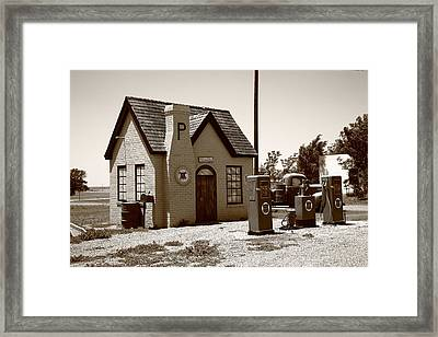 Route 66 - Phillips 66 Gas Station Framed Print by Frank Romeo