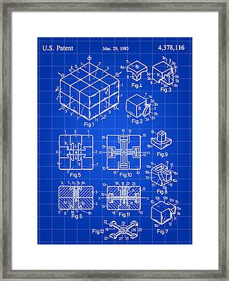 Rubik's Cube Patent 1983 - Blue Framed Print by Stephen Younts