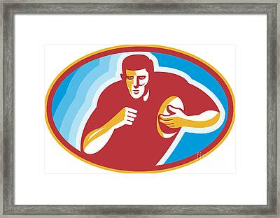Rugby Player Running With Ball Framed Print by Aloysius Patrimonio