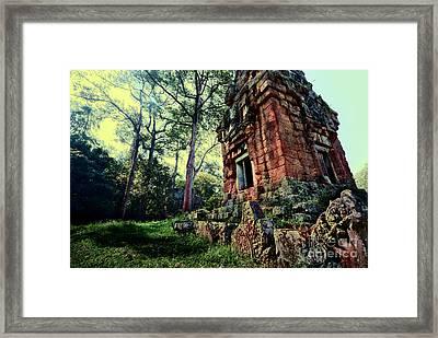 Ruin At Angkor Framed Print by Julian Cook