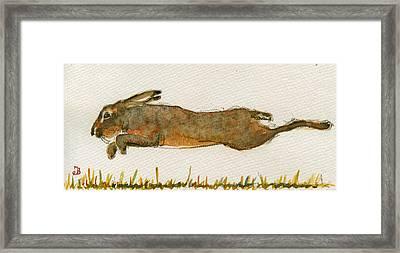 Running Hare Framed Print by Juan  Bosco