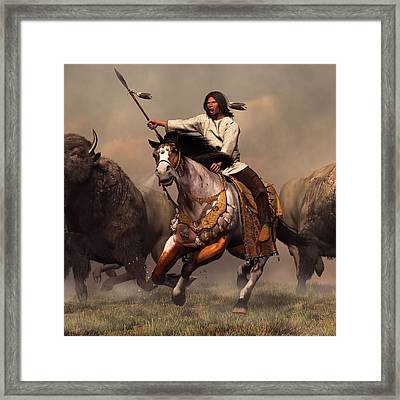 Running With Buffalo Framed Print by Daniel Eskridge