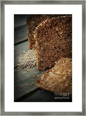 Rustic Loaf Of Bread Framed Print by Mythja  Photography
