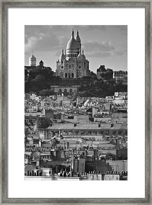 Sacre Coeur Over Rooftops Framed Print by Gary Eason