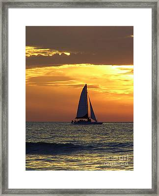 Sailing Into The Sunset Framed Print by D Hackett