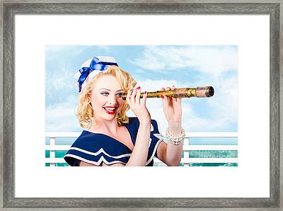 Sailor Girl Pin-up Looking Through Telescope Framed Print by Jorgo Photography - Wall Art Gallery