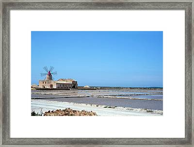 Salt Pan Windmill Framed Print by Jon Wilson