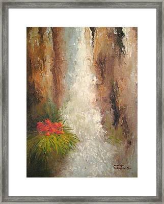 San Antonio Japanese Garden Waterfall Painting By Margo