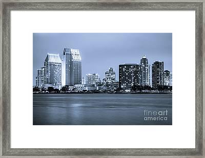 San Diego At Night Framed Print by Paul Velgos