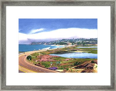 San Elijo And Hwy 101 Framed Print by Mary Helmreich