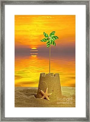 Sandcastle At Sunset Framed Print by Amanda Elwell