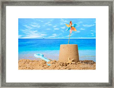 Sandcastle On Beach Framed Print by Amanda Elwell
