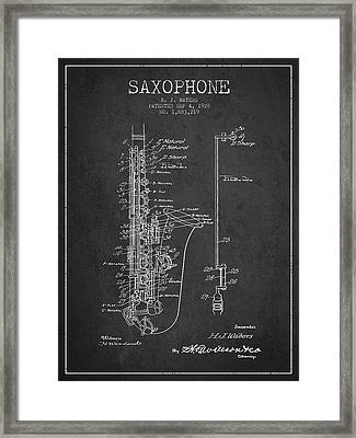 Saxophone Patent Drawing From 1928 Framed Print by Aged Pixel
