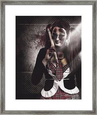 Scary Zombie School Student Holding Monster Pencil Framed Print by Jorgo Photography - Wall Art Gallery