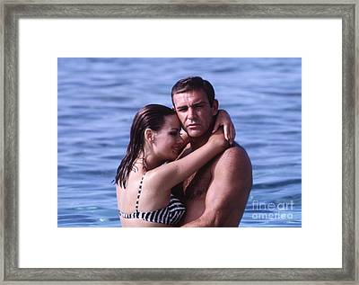 Sean Connery And Claudine Auger During Filming Of Thunderball Framed Print by The Phillip Harrington Collection
