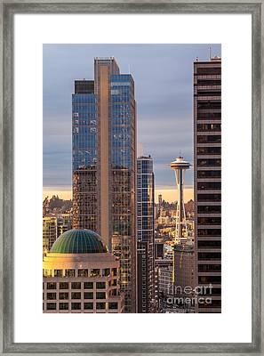 Seattle Space Needle Golden Sunset Light Framed Print by Mike Reid