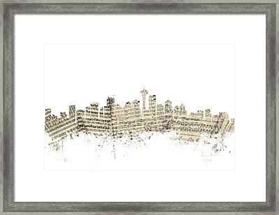 Seattle Washington Skyline Sheet Music Cityscape Framed Print by Michael Tompsett