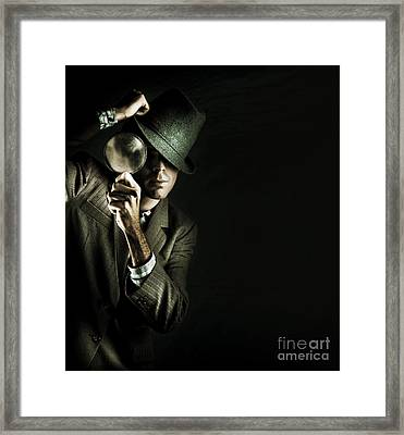 Security Detective With Magnifying Glass Framed Print by Jorgo Photography - Wall Art Gallery