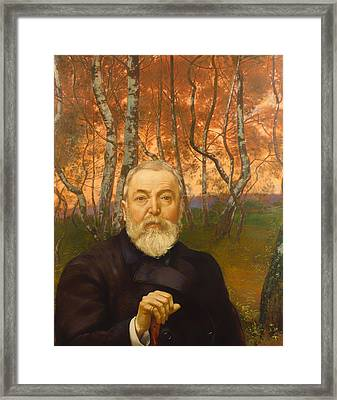 Self Portrait In Front Of A Birch Forest Framed Print by Mountain Dreams