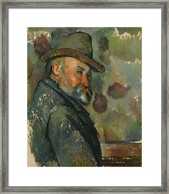 Self-portrait With A Hat Framed Print by Paul Cezanne