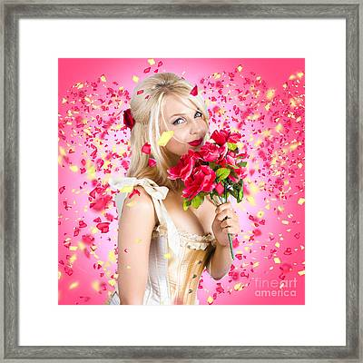 Sentimental Lady With Flowers. Falling In Love Framed Print by Jorgo Photography - Wall Art Gallery