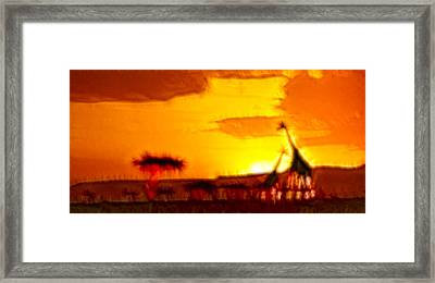 Serengeti Sunset Framed Print by Sebastian Musial